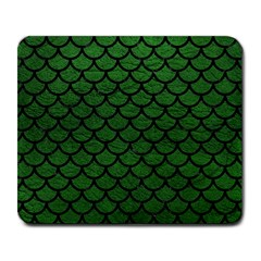 Scales1 Black Marble & Green Leather (r) Large Mousepads by trendistuff