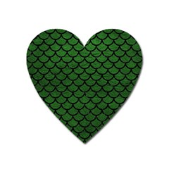 Scales1 Black Marble & Green Leather (r) Heart Magnet by trendistuff
