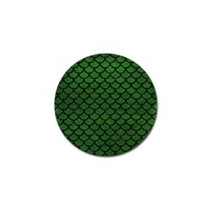 Scales1 Black Marble & Green Leather (r) Golf Ball Marker by trendistuff