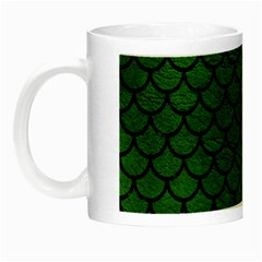 Scales1 Black Marble & Green Leather (r) Night Luminous Mugs by trendistuff
