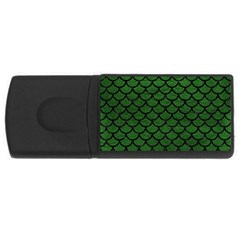 Scales1 Black Marble & Green Leather (r) Rectangular Usb Flash Drive by trendistuff