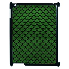 Scales1 Black Marble & Green Leather (r) Apple Ipad 2 Case (black) by trendistuff