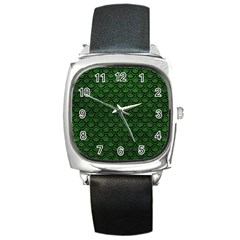 Scales2 Black Marble & Green Leather (r) Square Metal Watch by trendistuff