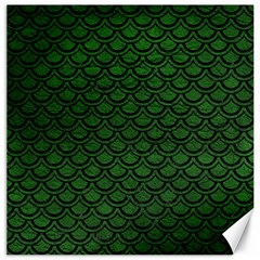 Scales2 Black Marble & Green Leather (r) Canvas 16  X 16   by trendistuff