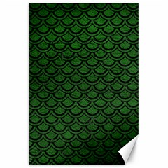Scales2 Black Marble & Green Leather (r) Canvas 20  X 30   by trendistuff