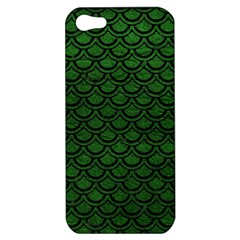 Scales2 Black Marble & Green Leather (r) Apple Iphone 5 Hardshell Case by trendistuff