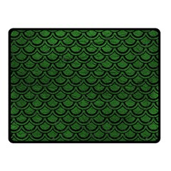 Scales2 Black Marble & Green Leather (r) Double Sided Fleece Blanket (small)  by trendistuff
