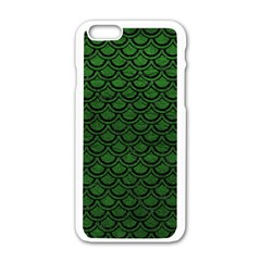 Scales2 Black Marble & Green Leather (r) Apple Iphone 6/6s White Enamel Case by trendistuff