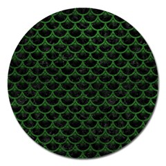 Scales3 Black Marble & Green Leather Magnet 5  (round) by trendistuff