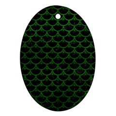 Scales3 Black Marble & Green Leather Oval Ornament (two Sides) by trendistuff