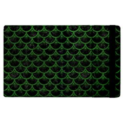 Scales3 Black Marble & Green Leather Apple Ipad 2 Flip Case by trendistuff