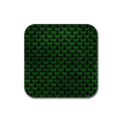 Scales3 Black Marble & Green Leather (r) Rubber Square Coaster (4 Pack)  by trendistuff