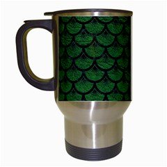 Scales3 Black Marble & Green Leather (r) Travel Mugs (white) by trendistuff