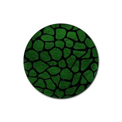 Skin1 Black Marble & Green Leather Rubber Round Coaster (4 Pack)  by trendistuff