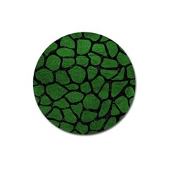 Skin1 Black Marble & Green Leather Magnet 3  (round)