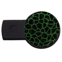 Skin1 Black Marble & Green Leather (r) Usb Flash Drive Round (2 Gb) by trendistuff