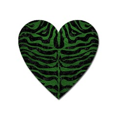 Skin2 Black Marble & Green Leather Heart Magnet by trendistuff