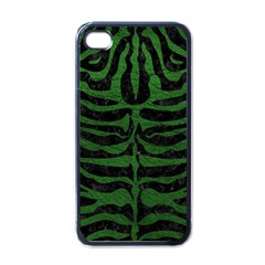 Skin2 Black Marble & Green Leather Apple Iphone 4 Case (black) by trendistuff