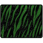 SKIN3 BLACK MARBLE & GREEN LEATHER Fleece Blanket (Medium)  60 x50 Blanket Front