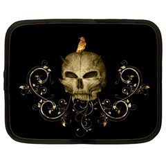 Golden Skull With Crow And Floral Elements Netbook Case (large) by FantasyWorld7