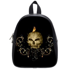 Golden Skull With Crow And Floral Elements School Bag (small) by FantasyWorld7