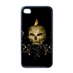 Golden Skull With Crow And Floral Elements Apple Iphone 4 Case (black) by FantasyWorld7