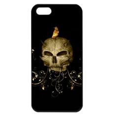 Golden Skull With Crow And Floral Elements Apple Iphone 5 Seamless Case (black) by FantasyWorld7