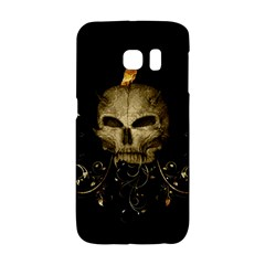 Golden Skull With Crow And Floral Elements Galaxy S6 Edge by FantasyWorld7
