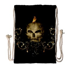 Golden Skull With Crow And Floral Elements Drawstring Bag (large) by FantasyWorld7