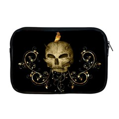 Golden Skull With Crow And Floral Elements Apple Macbook Pro 17  Zipper Case by FantasyWorld7