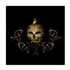 Golden Skull With Crow And Floral Elements Tile Coasters