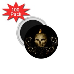 Golden Skull With Crow And Floral Elements 1 75  Magnets (100 Pack)  by FantasyWorld7