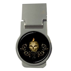 Golden Skull With Crow And Floral Elements Money Clips (round)  by FantasyWorld7