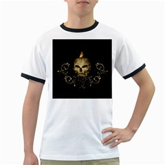 Golden Skull With Crow And Floral Elements Ringer T Shirts