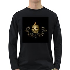 Golden Skull With Crow And Floral Elements Long Sleeve Dark T Shirts by FantasyWorld7