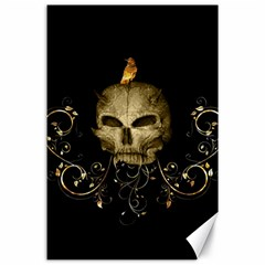 Golden Skull With Crow And Floral Elements Canvas 24  X 36  by FantasyWorld7
