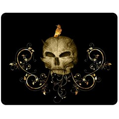 Golden Skull With Crow And Floral Elements Fleece Blanket (medium)  by FantasyWorld7