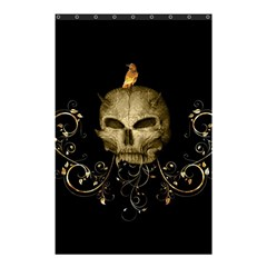 Golden Skull With Crow And Floral Elements Shower Curtain 48  X 72  (small)  by FantasyWorld7