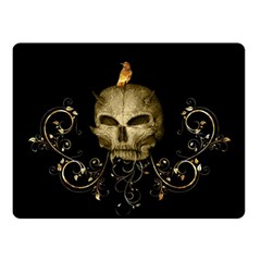 Golden Skull With Crow And Floral Elements Double Sided Fleece Blanket (small)  by FantasyWorld7