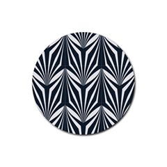 Art Deco, Black,white,graphic Design,vintage,elegant,chic Rubber Round Coaster (4 Pack)  by 8fugoso