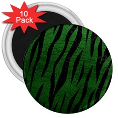 Skin3 Black Marble & Green Leather (r) 3  Magnets (10 Pack)  by trendistuff