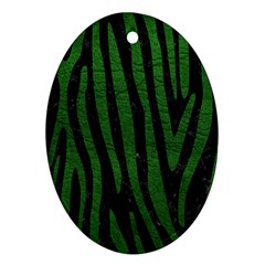 Skin4 Black Marble & Green Leather (r) Ornament (oval)