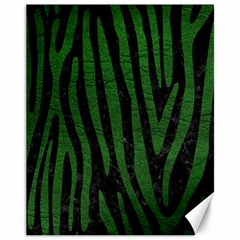 Skin4 Black Marble & Green Leather (r) Canvas 11  X 14
