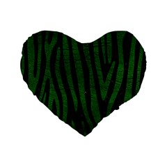 Skin4 Black Marble & Green Leather (r) Standard 16  Premium Flano Heart Shape Cushions by trendistuff