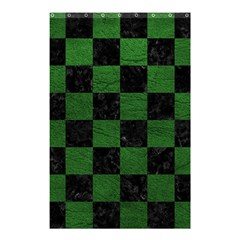 Square1 Black Marble & Green Leather Shower Curtain 48  X 72  (small)  by trendistuff