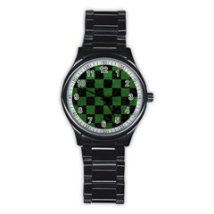 Square1 Black Marble & Green Leather Stainless Steel Round Watch by trendistuff