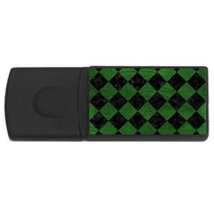Square2 Black Marble & Green Leather Rectangular Usb Flash Drive by trendistuff