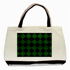 Square2 Black Marble & Green Leather Basic Tote Bag (two Sides)