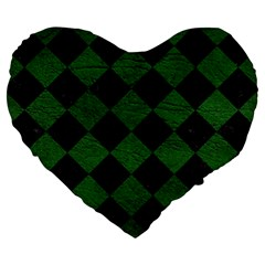 Square2 Black Marble & Green Leather Large 19  Premium Heart Shape Cushions by trendistuff