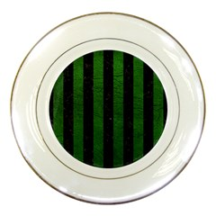 Stripes1 Black Marble & Green Leather Porcelain Plates